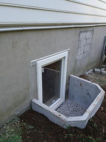 Egress window with concrete well in Worton, MD