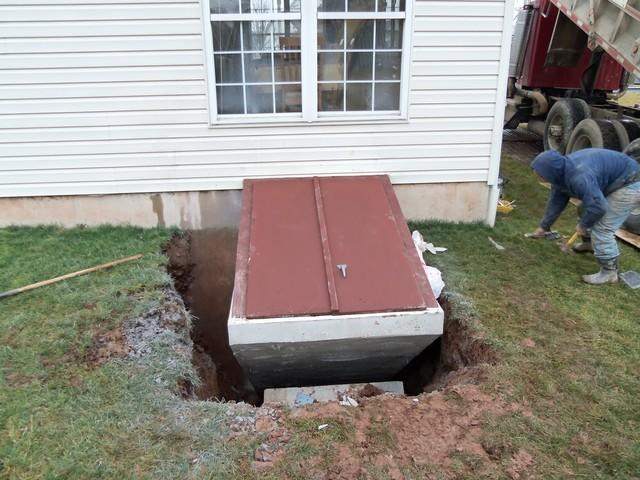 Galvanized Pre-cast Concrete Angled Cellar Door Installed in Gilbertsville, PA - After Photo