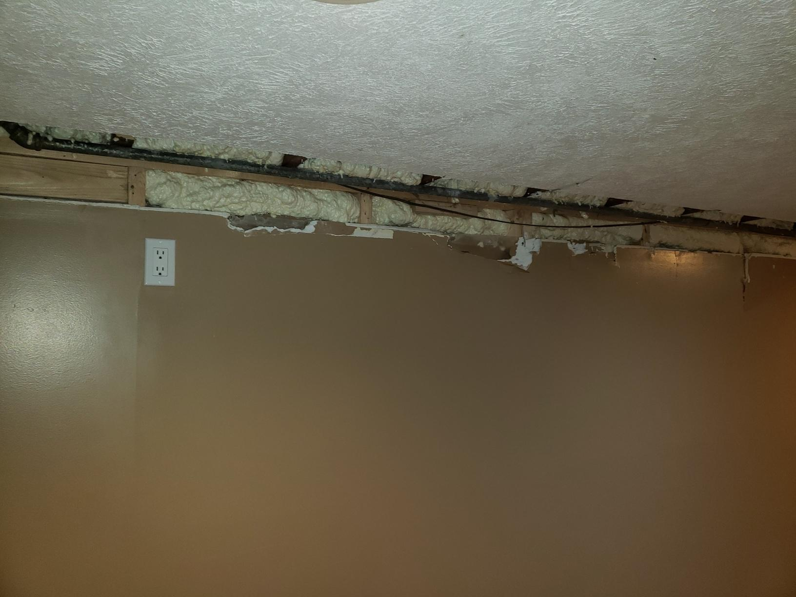 Two-Part Foam Install After Water Pipe Burst in Basement Wall of Home in Omaha, NE - After Photo