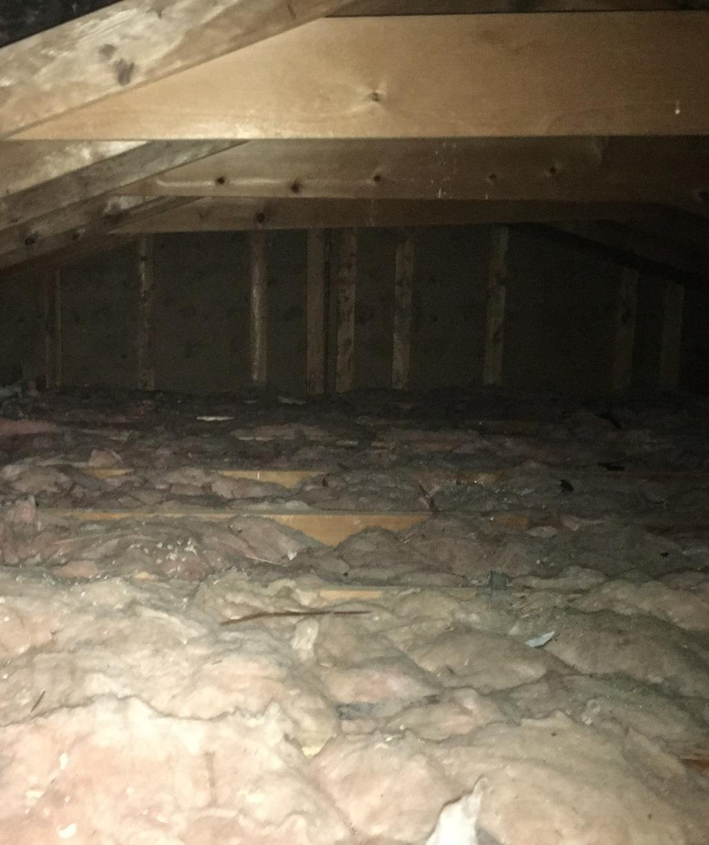 Blown in Cellulose in Attic of Lovely Bellevue, NE Home - Before Photo