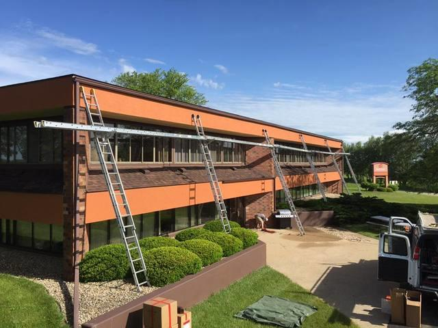 LeafGuard Gutter System Commercial Install In Dodgeville