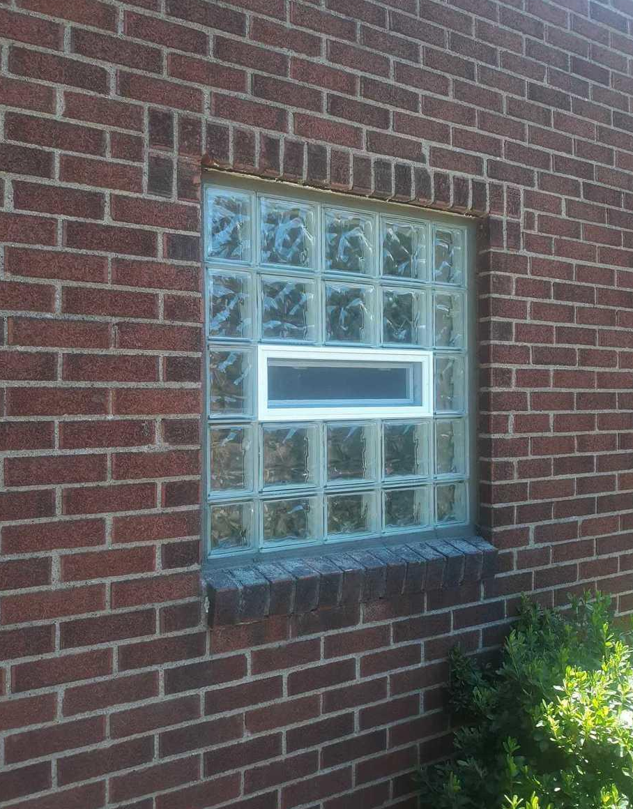 Wave Glass Block windows installation with a vent in Pittsburgh, PA - After Photo