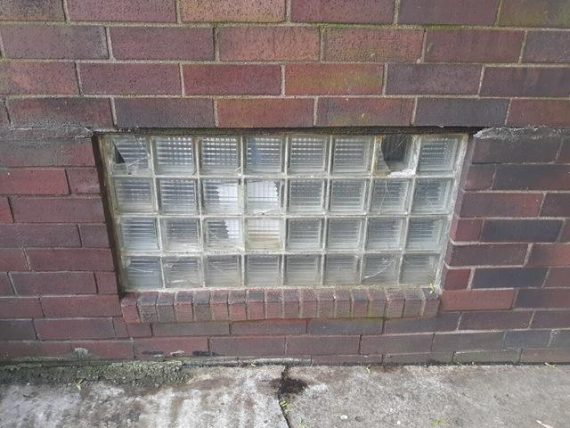 Glass Block Window Replacement in New Brighton - Before Photo