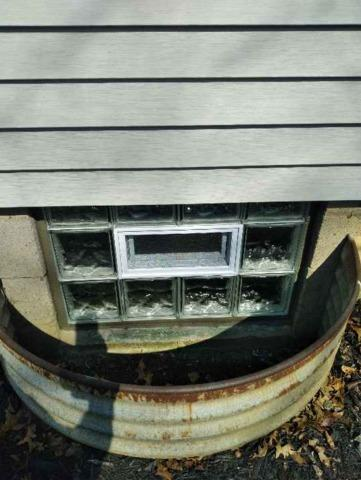 Basement Wave Glass Block Windows with a Vent Installation in Ellwood City, PA