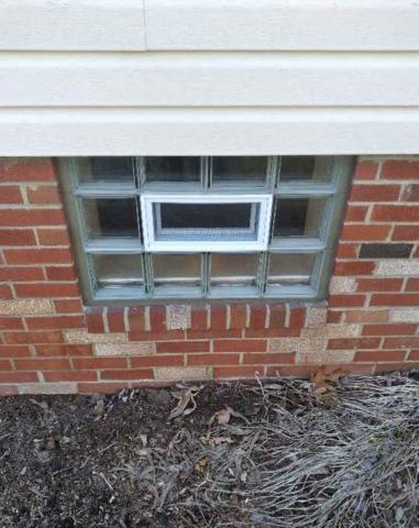 Basement Clear Glass Block Windows Installation with a vent in  Baden, PA