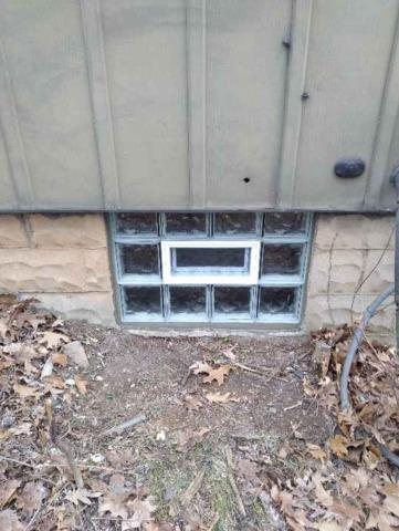 Basement Wave Glass Block Windows Installation with a Vent in Ambridge, PA