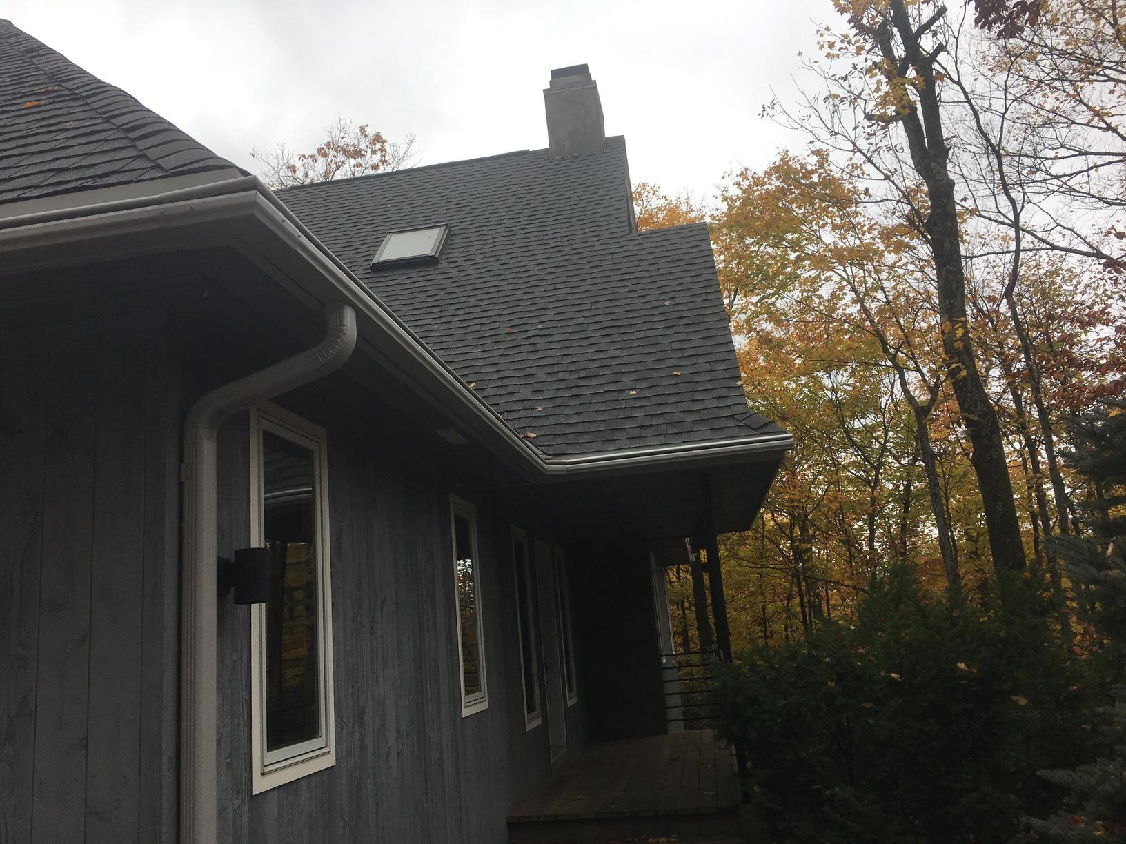 GAF Timerline Roof and LeafGuard Gutters installed in Sister Bay, WI - After Photo