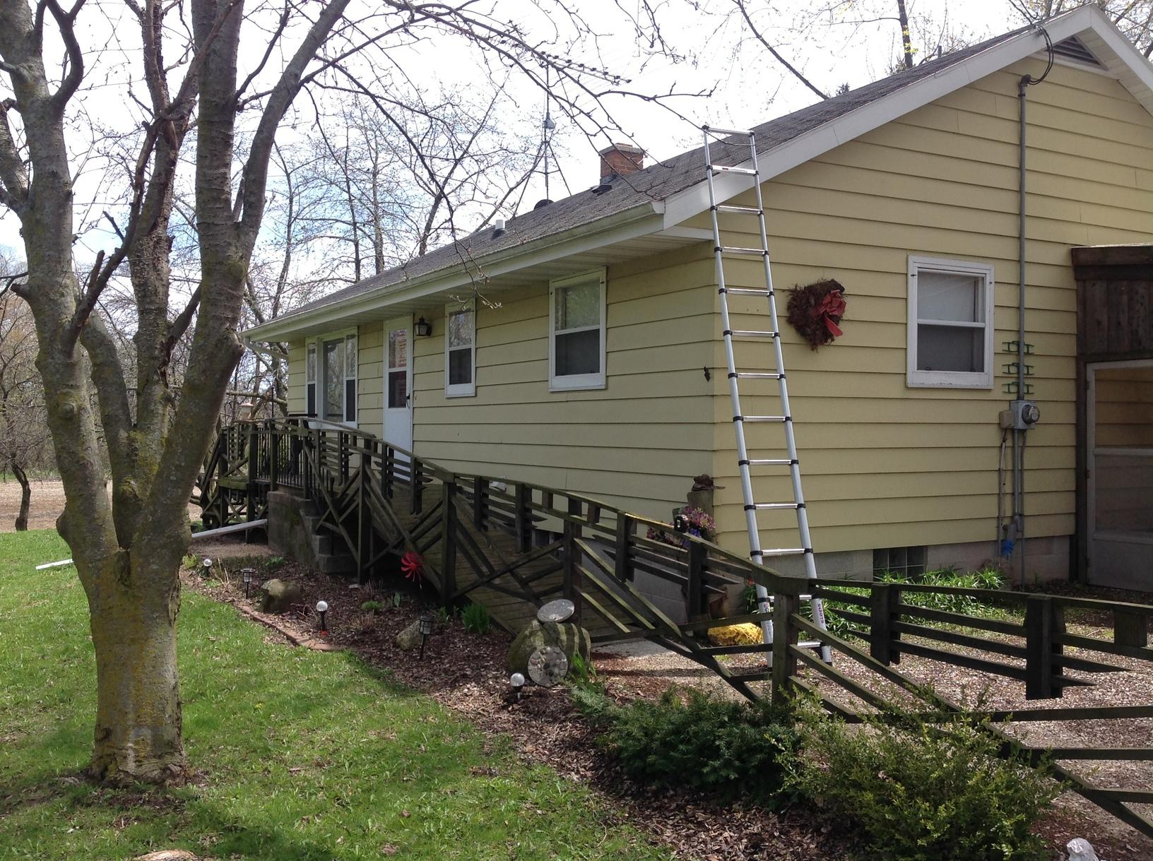 LeafGuard Gutters Installed in Newton, WI - Before Photo