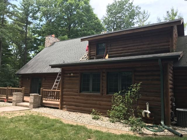 LeafGuard Gutters Installed on a Log Home in New Franken, WI