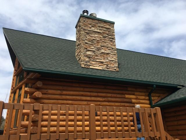 LeafGuard Gutters Installed on a Waterfront Log Home in Mosinee, WI