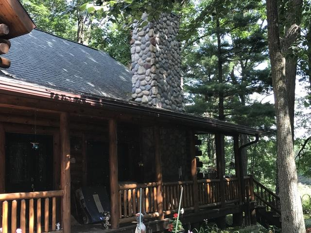 LeafGuard Gutters Installed on a Log Home in Mosinee, WI