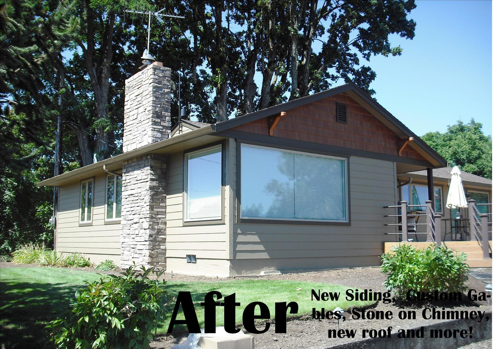 Fiber Cement Siding, Chimney Wrap and Roof Replacement Contractors in  Portland, Or - After Photo