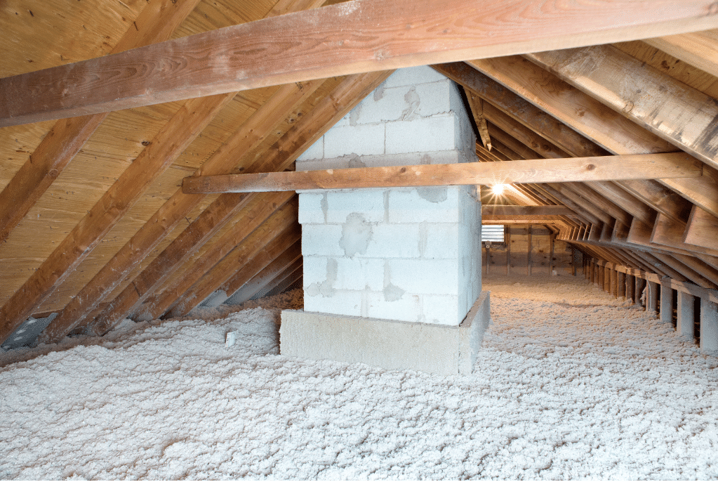 Blown-in Cellulose Insulation In Attic - After Photo