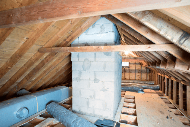 Blown-in Cellulose Insulation In Attic - Before Photo