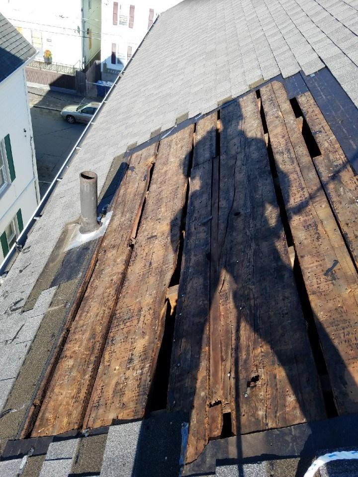 Roof repair in New Bedford, MA - Before Photo