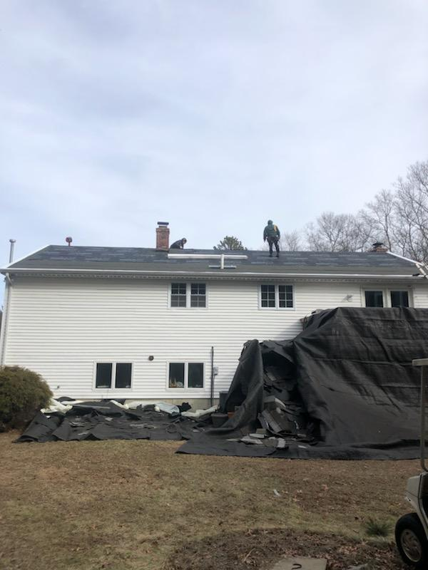 Back siding on multi project in East Freetown, MA - Before Photo