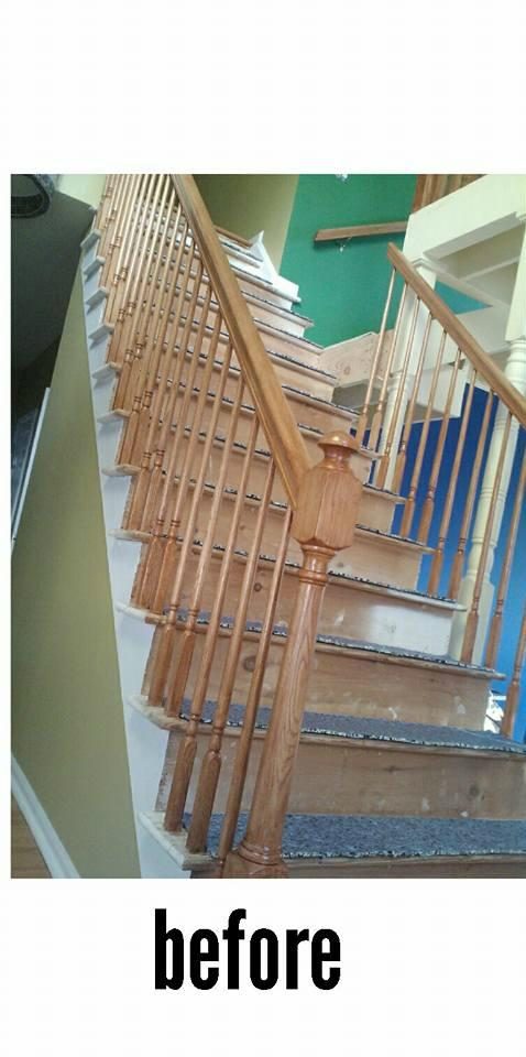Wrap Around Stairs (with spindles) Carpet Job in East Brunswick, NJ - Before Photo