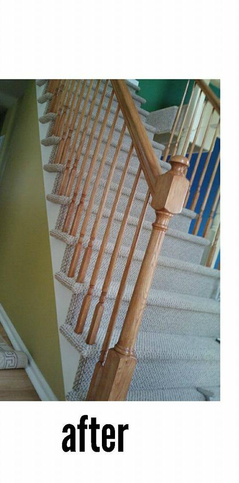 Wrap Around Stairs (with spindles) Carpet Job in East Brunswick, NJ - After Photo