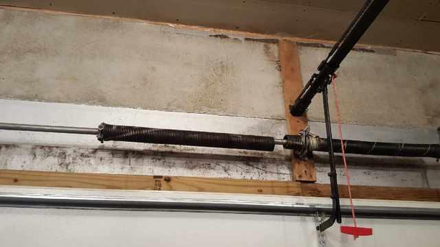 Garage Door Broken Spring Repair, Duluth MN - Before Photo