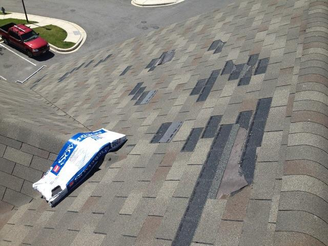 Replaced Missing Shingles on Roof - Before Photo