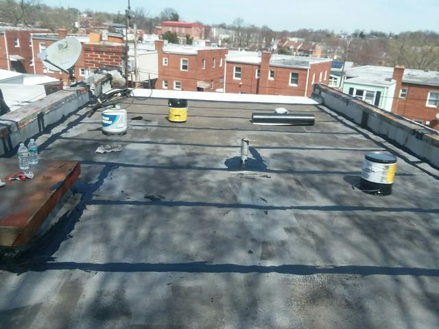 Flat Roof Patch and Coat - Before Photo