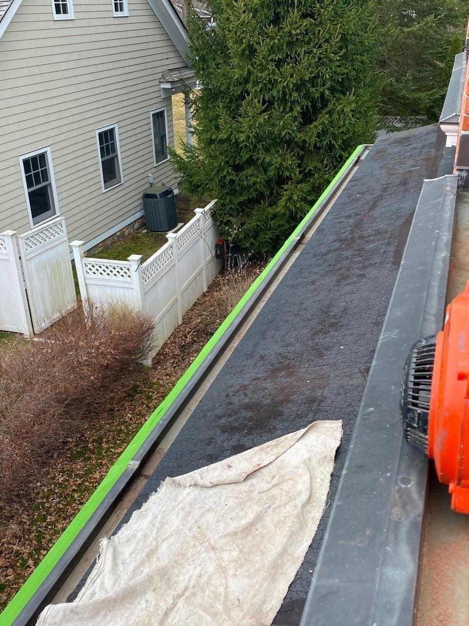 Copper Gutter Liner Sika Application. Greenwich, CT - Before Photo