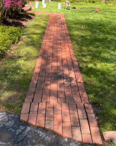 CT Gutter Pressure Washes Brick Walkway Making It Look New Again | Stamford, CT