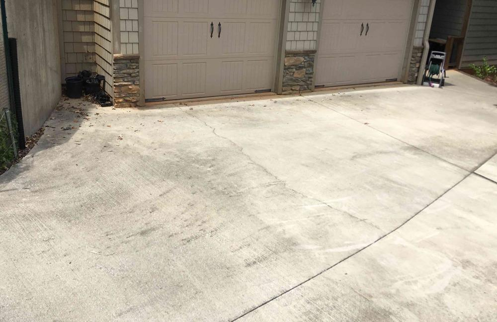 Fixing Cracked Concrete Driveway in Nebo, NC - Before Photo