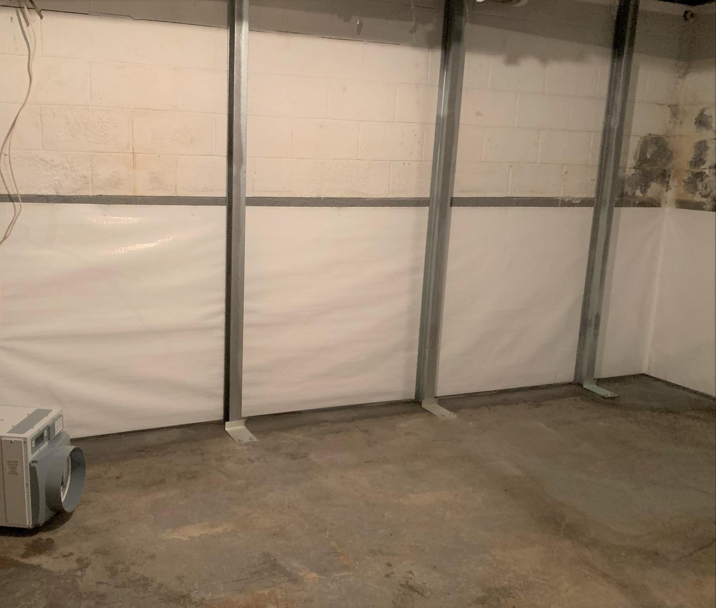 Stabilizing and Drying Wet Basement Wall in Eden, NC - After Photo