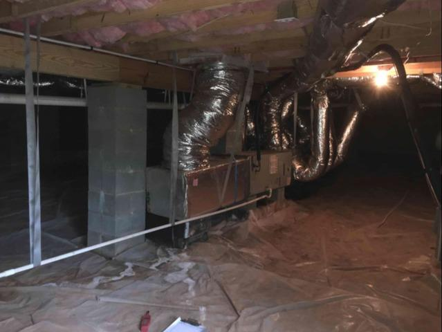 Humid Crawl Space in Taylorsville, NC Encapsulated with Vapor Barrier
