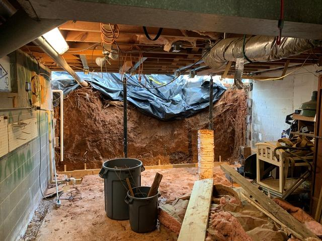 Wet Basement With Collapsing Wall in Lexington, NC