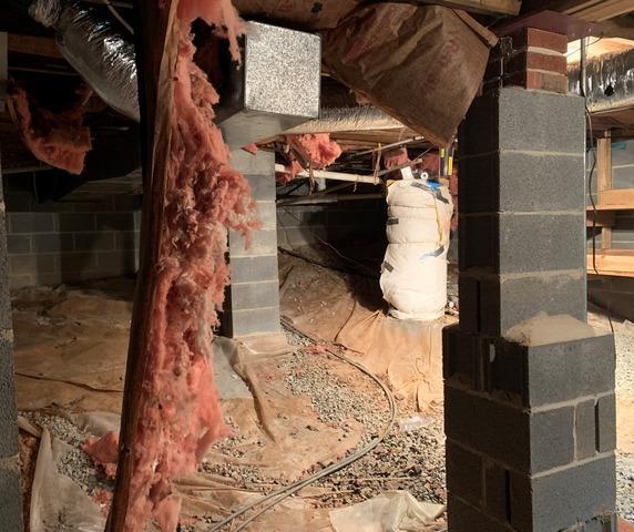 Vapor Barrier Installation in Wet Crawl Space in Sparta, NC