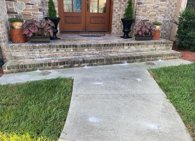Leveling Brick Steps and Concrete Walkway in Clemmons, NC