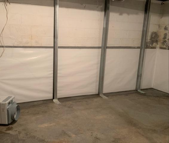 Stabilizing and Drying Wet Basement Wall in Eden, NC