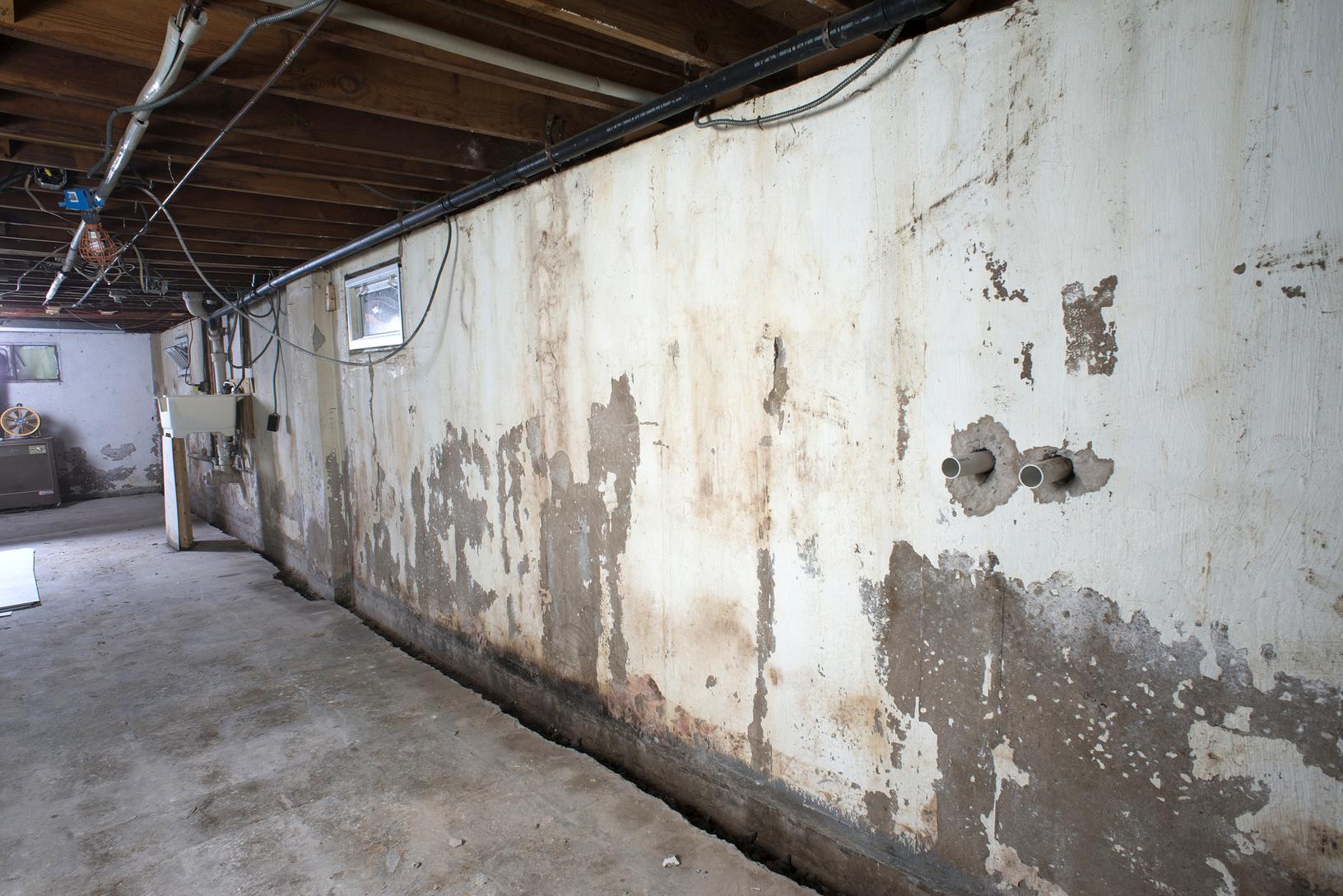 Drakes Branch, VA Basement Waterproofing - Before Photo