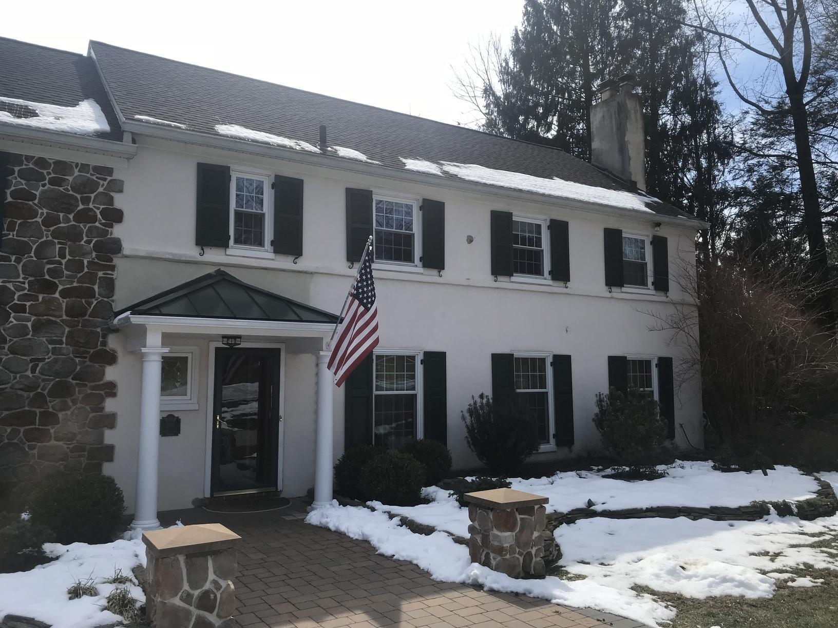 Stucco House Gets Painted with our Ceramic Coating in Newtown Square, PA - Before Photo