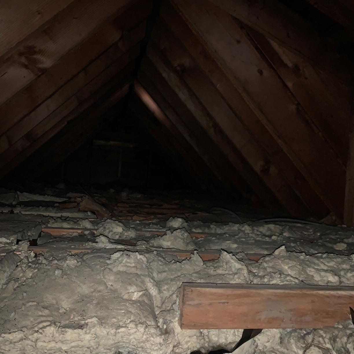 Cellulose Insulation and Air Sealing in Attic - Franklin Square, NY - Before Photo