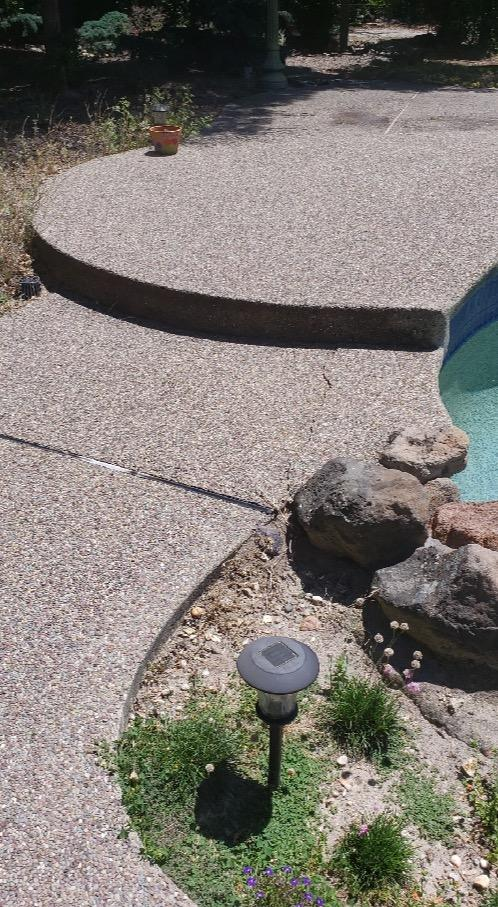 Pool Deck Leveled With PolyLevel in Granite Bay, CA - Before Photo