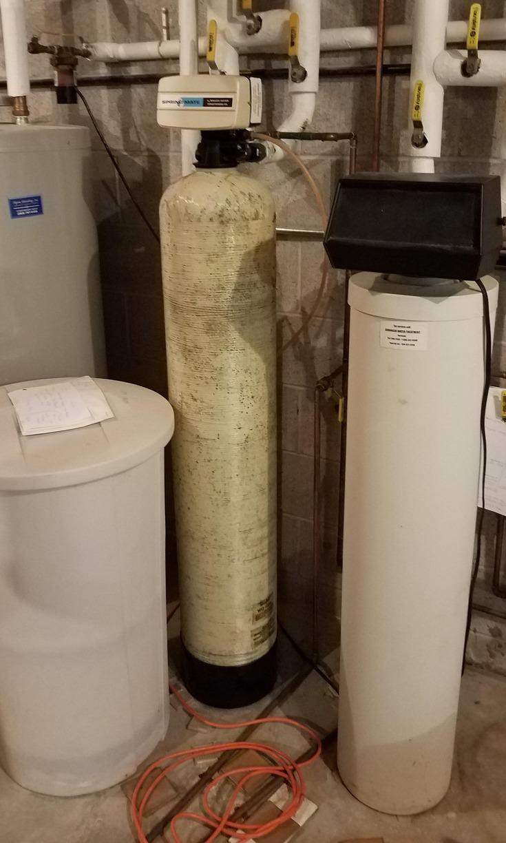 New Water Softener, Iron Filter, and Sediment Filter Installed in Mequon, WI - Before Photo