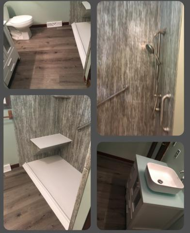 Shower Remodeled with Marble Walls in Plainwell, MI