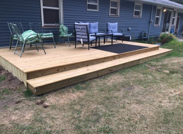 Treated Wood Deck Built in Muskegon, MI