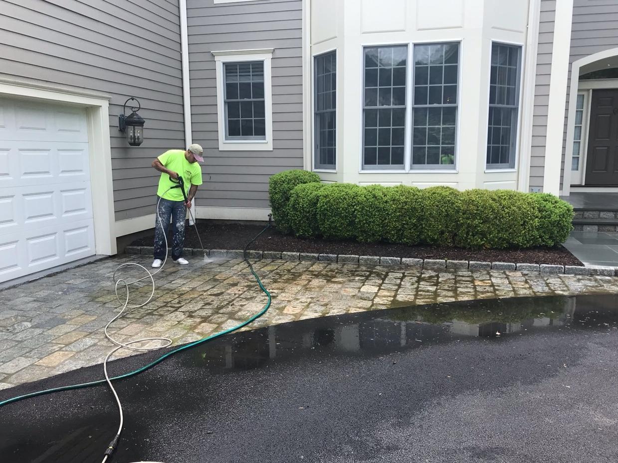 Stone Driveway Power Washing in Harrison, NY - Before Photo