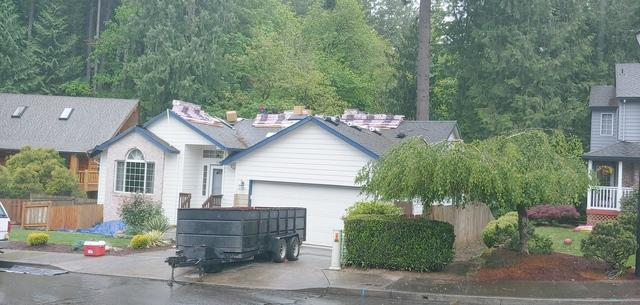 Owens Corning Roof Replacement and Gutter Shutter Install in Sandy, OR - Before Photo