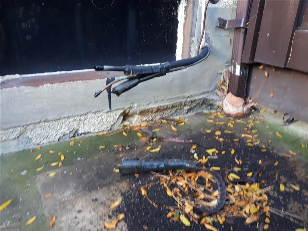 Stabilizing Slab Holding Air Conditioning Unit, Mississauga, ON - Before Photo