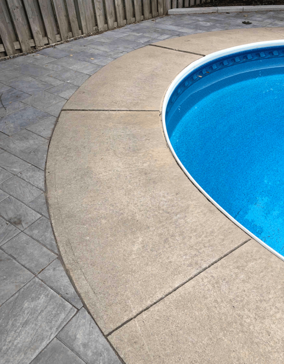 Sinking Pool Deck Hurts Child's Foot in Mississauga, Ontario - Before Photo