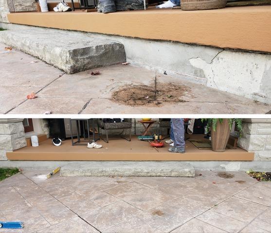 Sinking Concrete Step in Uxbridge, Ontario