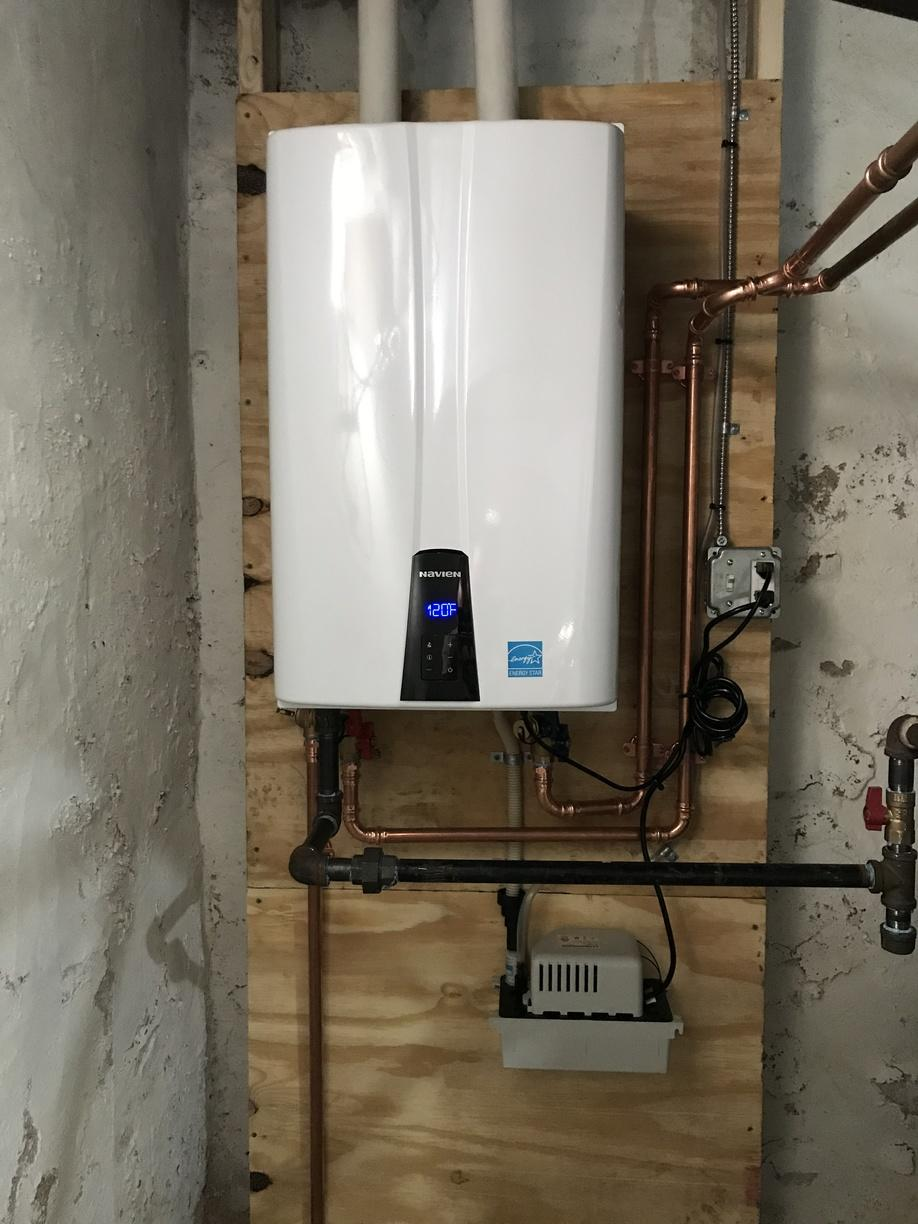 Installation of a gas hot water heater to a tankless hot water heater in Branford, CT! - After Photo