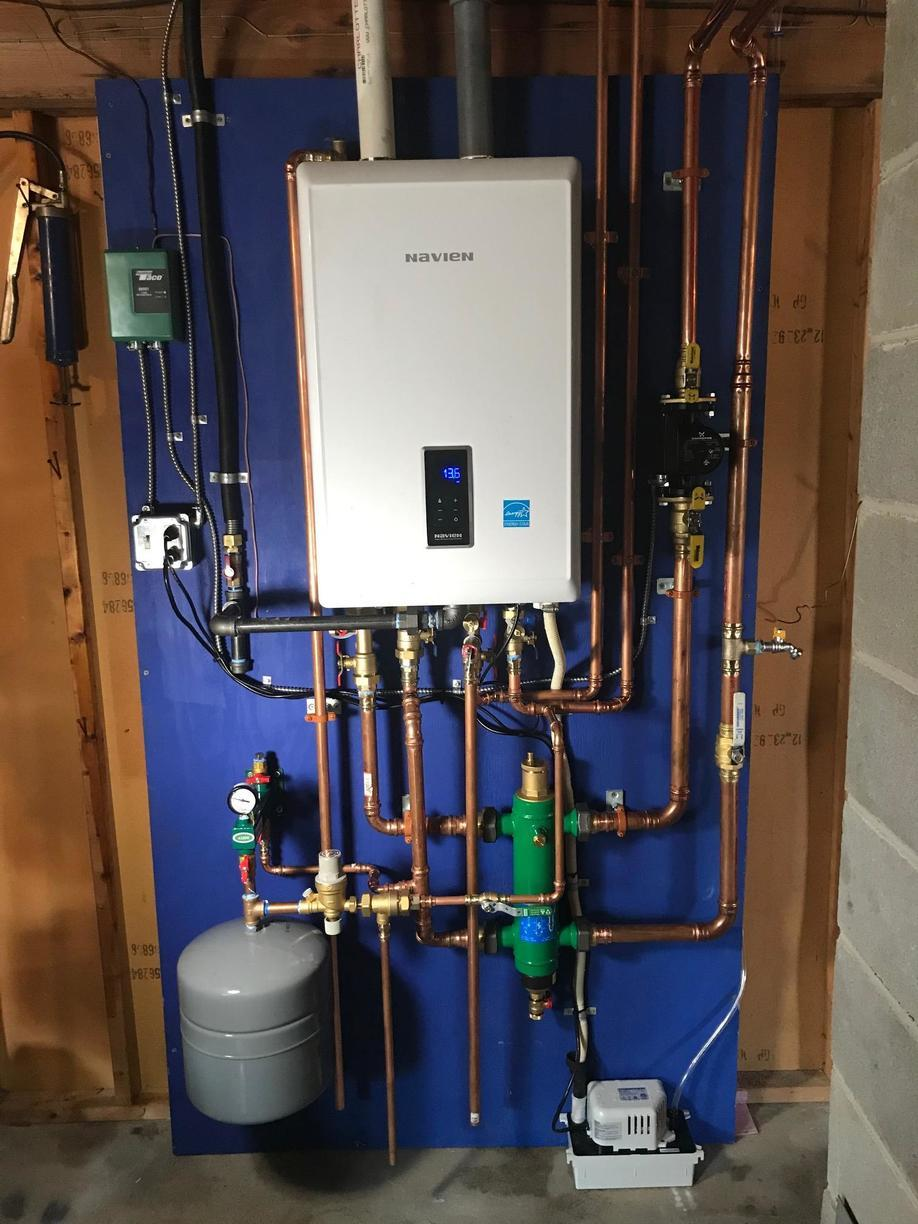 Oil to Gas conversion with Navien wall hung combi boiler in Milford, CT! - After Photo