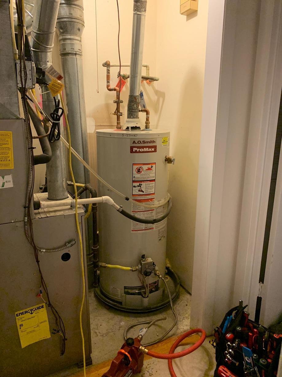 Gas hot water heater replacement in Branford, CT! - Before Photo