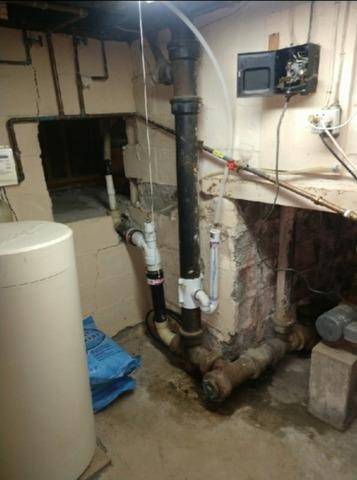 Drain line plumbing replacement in Castleton On Hudson - Before Photo